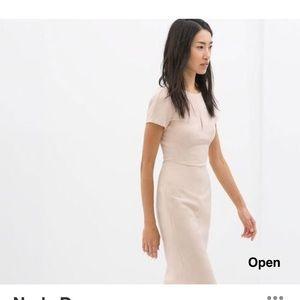 Zara Nude Fitted Sheath Midi Dress